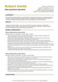 Operations Resume Examples Sales Operations Specialist Resume Samples Qwikresume
