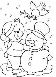 Small Picture Snowman Winter Free Christmas Coloring Pages For Kids Winter
