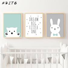 NDITB Kawaii Bear Rabbit <b>Canvas</b> Art Posters <b>Woodland Animal</b> ...