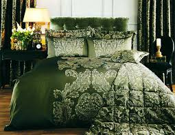 elegant script duvet cover dark green with gold embroidery 1140039