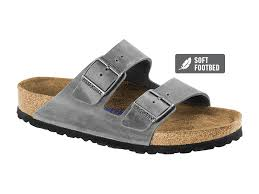 arizona natural oiled leather in iron soft footbed suede lined