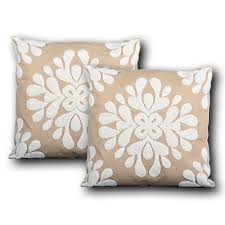... Abbey Embroidered Decorative Pillows, Taupe / White, Single or Set -  Utopia Alley ...