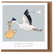 Congratulations On Your New Baby Card Stork New Baby Card By Katie Cardew Illustrations