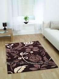 infinate damask brown cream rug 60 x 110cm