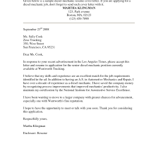Sample Cover Letter For Aircraft Mechanic Tomyumtumweb Com