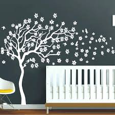 white wall stickers huge white tree flowers vinyl wall decal nursery tree and birds wall art
