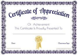 Printable Certificates Of Appreciation Templates Download Them And