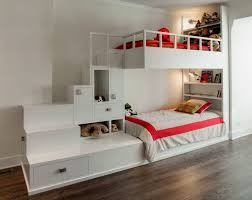 Eye-Catching Girl Wall Mounted Bunk Bed Design With Dual-Purpose Bed Sit  With Compact Storage Unit And Perfect Staircases Along With Nice Bedding  Ideas
