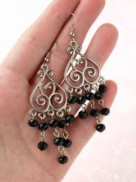 long dangle earring chandelier earring black bead earring beaded earring crystal earring crystal bead earring party earring