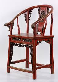 red lacquered furniture. Chinese Red Lacquered Horseback Chair Furniture