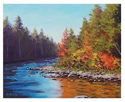 autumn river colors landscape oil paintings