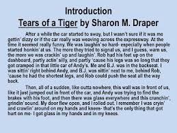 tears of a tiger by sharon m draper ppt introduction tears of a tiger by sharon m draper