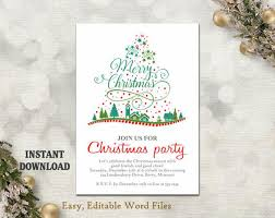 Christmas Party Invitation Template Printable Christmas Tree Holiday Party Card Christmas Card Editable Template Green Red Diy