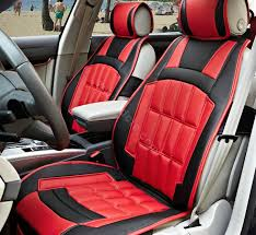 name fortune custom auto car seat cover cushion set artificial leather red black