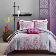 modern bedroom design with girls teen bedding set pink purple yellow paisley pillows pink
