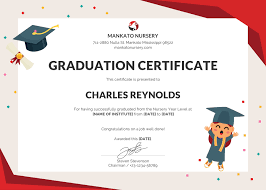 Graduation Certificate Template Free Nursery Graduation Certificate Template in PSD MS Word 1