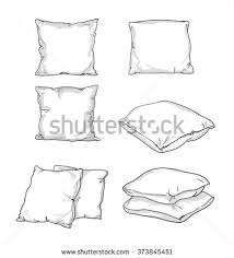 square pillow line drawing. sketch vector illustration of pillow, art, pillow isolated, white bed square line drawing e
