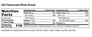 Big Sky Bread Company Nutrition Facts