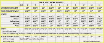 Skirt Length Chart Simply Shoeboxes Girls Skirt Sizing Chart Sizes 2 To 14