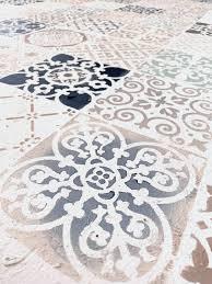 diy stenciled concrete floor