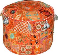 Bohemian <b>Pouf Ottoman pouffe</b> Vintage <b>Patchwork</b> Indian <b>Pouf</b> ...