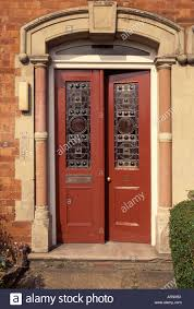 glass double door. Brown Double Edwardian Front Door With Stained Glass Panels
