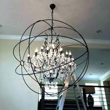 crystal orb chandelier restoration hardware smoke sphere with crystals plus wood s