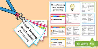 Being stuck inside doesn't have to mean being bored! Bloom S Taxonomy Questions Cards Lanyard Sized Cards