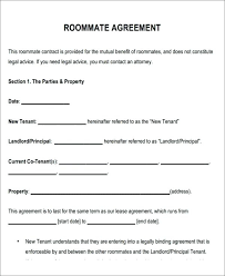 Roommate Rental Agreement Form Awesome Free Printable Lease Example ...