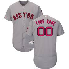 Red Road Base Flex Majestic Gray Custom Authentic Boston Sox Collection Men's Jersey