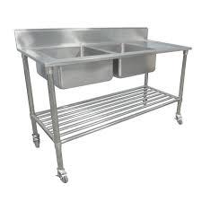 1500 x 600mm portable commercial double bowl kitchen sink s steel wheels castors