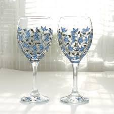 Wine Glasses Blue Tulips Design Wedding Glasses Hand Painted