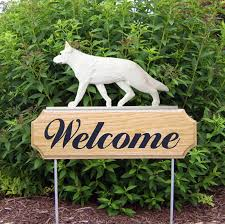 german shepherd dog breed oak wood wele outdoor yard sign white 181404186416 jpg