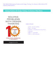 Solving Problems With Design Thinking Ten Stories Of What Works Paperback Solving Problems With Design Thinking Ten
