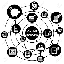 Online banking work connecting diagram royalty free cliparts