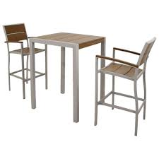 trex outdoor furniture surf city textured silver 3 piece plastic outdoor patio bar set with