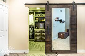 Here Is A Reclaimed Oak Sliding Barn Door With Mirror We Built And  Installed For A