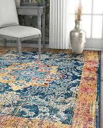 cora fl medallion vintage blue area rug soft modern oriental carpet