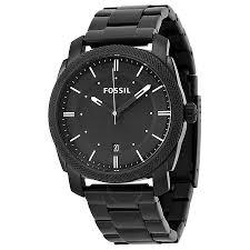 fossil machine black dial black plated men s watch fs4775