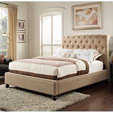 standard furniture stanton upholstered platform bed in light brown linen fabric 88202 from beyond stores brown linen fabric lighting