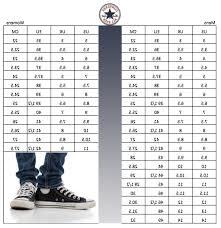 Chuck Taylor All Star Size Chart Converse Chuck Sizing