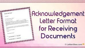 Acknowledgement Letter Format For Receiving Documents Free Letters