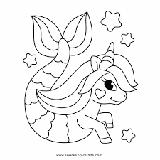 Simple cute magic unicorn line cartoon illustration isola. Unicorn Mermaid Coloring Page Sparkling Minds