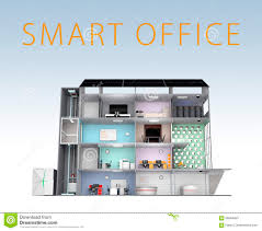 smart office design. smart office concept energy support by solar panel storage to battery system with design