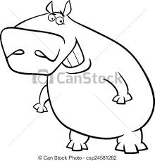 Hippopotamus Cartoon Coloring Page Black And White Cartoon
