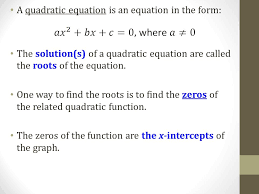 a quadratic equation is an equation in the form the solution s of