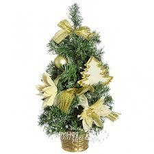 <b>Настольная елка</b> Украшенная 40 см, золотая гамма, ПВХ ...