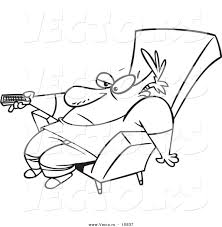 remote control drawing. vector of a cartoon bored man slumped in chair and holding remote control - drawing