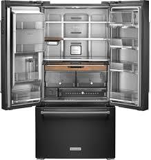 kitchenaid 23 8 cu ft french door counter depth refrigerator black krfc704fbs best
