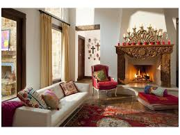 area rug red armchair ds mexican candelabra hacienda spanish high ceilings window treatments throw pillows fireplace decorative colorful accents eco